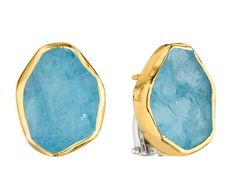 Symmetry: 18Kt Gold & Sterling Silver Earrings with Rough Aquamarine