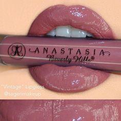 """""Vintage"" lip gloss #anastasiabeverlyhills"" amazing color, and smells yummy"