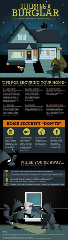 Trusting that your home, family and belongings are protected is the key to having peace of mind when you're away. By following these tips for home security you can go to work or on vacation knowing you've taken the appropriate measures to avoid a break-in or theft. These are simple and effective steps you can take today to ensure your home is protected all year-round. From utilizing shrubbery as a barrier to installing motion-sensor lights, there are many tools available to assist you in tak...