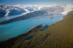 Look down College Fjord to Harvard and Yale Glaciers, 20 miles away. College Fjord gashes into the heart of the Chugach Mountains.  (100+ mi East of Anchorage)