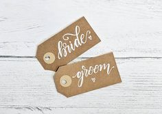 Six custom dinner table place card labels, wedding name tags for favour gifts, guest names for reception meal favors, gift bag labels, party Wedding Place Settings, Wedding Place Cards, Wedding Places, Table Settings, Unique Jewelry, Handmade Gifts, Bride, Etsy, Wedding Reception Venues
