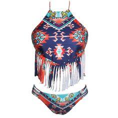 Tribe Fringed Halter Crop Top With Bottom Bikini Maverlly  #Fashionista #boutique #Shopping #shopnow #fashion