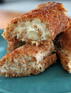 Cinnamon Sugar Cheesecake Roll-Ups. So easy and so tasty. little bites of cinnamon cheesecake with a crunchy crust.