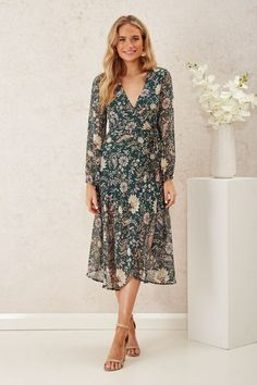 The Lucy Wrap Dress in Green with Vintage Floral is a delicate and feminine addition to your wardrobe! Lucy Dresses, Green Floral Dress, Chiffon Fabric, Wrap Style, Vintage Floral, How To Look Pretty, Frocks, Stretch Fabric, Wrap Dress