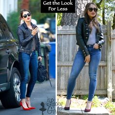 Look for Less :: Nikki Reed #3 – get the look for less, celeb inspired fashion, fall outfit ideas, leather jacket, striped top, burgundy heels