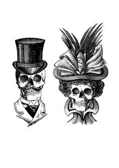 Vintage Prints von Abbie Powles, via Behance - Tattoo-ideen - Tatowierung Couple Tattoos, Love Tattoos, New Tattoos, Skeleton Couple Tattoo, Arabic Tattoos, Calaveras Mexicanas Tattoo, Gentleman Tattoo, Victorian Tattoo, Catrina Tattoo