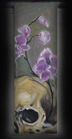 Orchid & Skull still life oil painting on canvas by Chuck Day