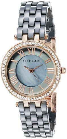 Anne Klein Women's Quartz Metal and Ceramic Dress Watch, Color:Grey (Model…