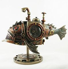Steampunk - Steampunk Submarine Sub Piranha Bronzed Statue Figurine Fantasy Ornament Steampunk Kids, Steampunk Kitchen, Chat Steampunk, Moda Steampunk, Arte Steampunk, Steampunk Animals, Style Steampunk, Steampunk Gadgets, Steampunk Design