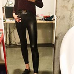 3194e9d6446e MCEDAR Women s Faux Leather Leggings Plus Size Girls High Waisted Sexy  Skinny Pants (XXL