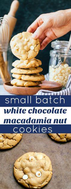 Small batch white chocolate macadamia nut cookies recipe. Makes 6 cookies. Small batch cookies.