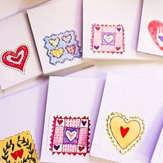SALE - Hand made cards: Upcycled - Mini cards - handmade - mini Valentine's - Hearts - Valentine cards - Kids Valentines - set of 20
