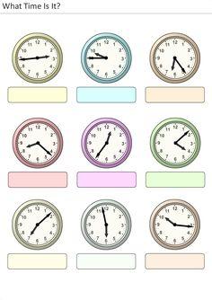 Actividades para niños preescolar, primaria e inicial. Plantillas con relojes analogicos para aprender la hora diciendo que hora es. Que hora es. 25