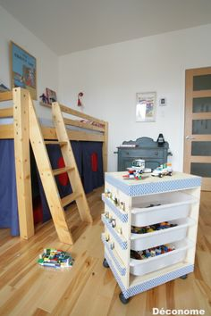 A rolling LEGO table and storage unit made from the IKEA TROFAST.