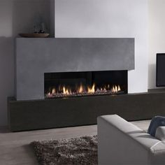 DRU Metro Eco Wave Balanced Flue Gas Fire is modern, stunning fire with realistic log-effect or contemporary stone fuel bed. Living Room Decor Fireplace, Fireplace Tv Wall, Fireplace Seating, Fireplace Bookshelves, Modern Fireplace, Living Room Tv, Fireplace Surrounds, Foyer Mural, Contemporary Fireplace Designs