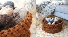 crocheted yarn storage basket