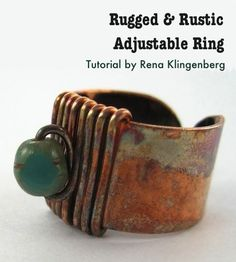 Rugged & Rustic Adjustable Ring - ring and patina with boiled egg tutorial