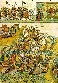 События XIII века. Ледовое побоище. Бегство немцев. Видение небесного войска