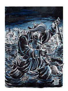 Capitan Tirreno Illustrazione battuta all'asta per una raccolta fondi per l'alluvione di Genova dell'autunno 2014. China, acquerello su cartoncino. 2014