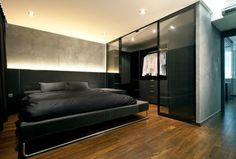 black-bachelor-pad-bedroom-with-walk-in-closet
