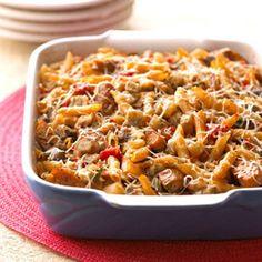 Baked Ratatouille-Sausage Penne - PER SERVING: 251 cal., 8 g total fat (2 g sat. fat), 39 mg chol., 559 mg sodium, 30 g carb. (6 g fiber), 17 g pro. Diabetic Exchanges: Vegetables (d.e): 1; Starch (d.e): 1.5; Medium-Fat Meat (d.e): 1.5