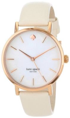 Kate Spade New York Women's Classic Rose Metro White Strap Watch