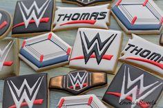 WWE cookies for Thomas ... . . . #emmassweets #cookies #cookieart #wwe #wwecookies #edibleart #cookiesintoronto #torontocookies #bradfordcookies #cookiesinbradford
