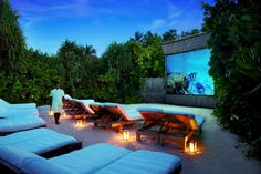 Jungle Cinema at Six Senses Laamu, Maldives. http://www.sixsenses.com/resorts/laamu/experiences