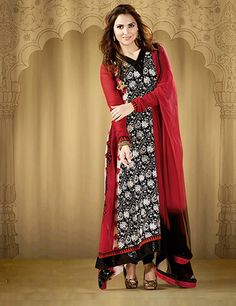 G3 Fashions Lara Dutta red black georgette unstitched salwar suit Products code: G3-WSS2795 Price: ₹ 6605.00