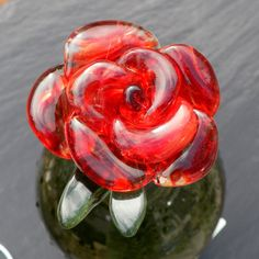Wine Bottle Stopper Glass Rose Red Hand Blown Rose by UntamedRose, $45.00