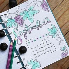 Beautiful Bullet Journal Cover Page Ideas for Every Month of the Year Love this 'grape' cover page by This fun fruit themed cover page is great for any month of the year. Love the softer colors of the colored pencils coloring in the drawings. Bullet Journal Monthly Spread, Bullet Journal Cover Page, Bullet Journal 2019, Bullet Journal Notebook, Bullet Journal Junkies, Bullet Journal Ideas Pages, Bullet Journal Layout, Journal Covers, Bullet Journal Inspiration