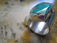 Sterling and Turquoise Ring Handmade Metal by JudithGayleDesigns, (sold)