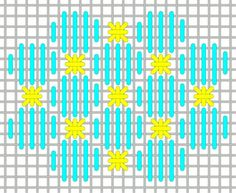 A great stitch for backgrounds using silk floss or a size 8 perle cotton or Trebizond. Use a metallic for the Smyrnas or consider using a sequin and bead or a size 11 bead or pearl in place of the Smyrnas. This pattern would also work well for clothing, roofs, snow and many other places! Chandail