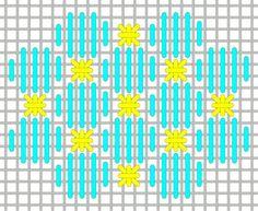 Stitch - Use a metallic for the Smyrnas. Bargello Patterns, Bargello Needlepoint, Needlepoint Stitches, Needlepoint Canvases, Needlework, Plastic Canvas Stitches, Plastic Canvas Crafts, Plastic Canvas Patterns, Cross Stitching