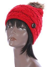 RED CABLE KNIT stylish Winter Beanie HAT CAP w / Faux FUR Pom Pom