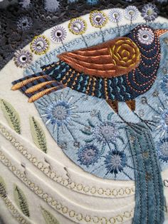 Silk and velvet appliqued machine embroidered picture 23 cm x 23 cm