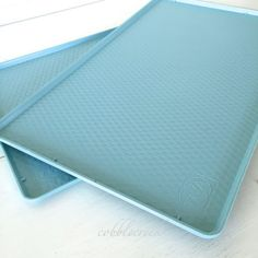#TWA Meal Trays 2 #Vintage #Turquoise Plastic #Airline Service Trays