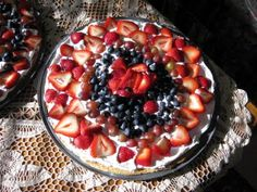 Makes 2 great fruit pizzas:  1 pkg yellow cake mix, 1/4 cup water, 2 eggs, 1/4 cup butter, 1/4 cup brown sugar, 1/2 cup chopped nuts. Mix together until stiff and thick. Will make 2 pizza rounds. Bake in 2 buttered and floured pizza pans at 350 degrees for about 15 minutes. Watch carefully for browning. Cool completely!  Spread cool-whip topping all over the top. Spread with your choice of fruits. Arrange in a circle.