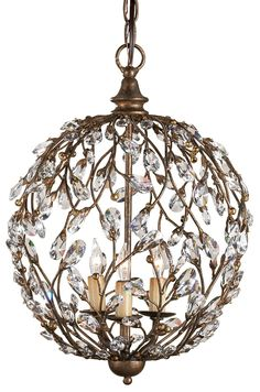 Currey and Company crystal spere gold transitional chandelier $985   #lighting