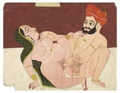 AN EROTIC EMBRACE  INDIA, RAJASTHAN, PROBABLY MARWAR, LATE 18TH CENTURY  Depicting a lady seated and leaning back slightly on her right arm facing her male lover, she wearing a green veil and pearl jewelry and he with a long elegant moustache and short trimmed beard wearing an orange turban, on white ground and a maroon background Opaque pigments on wasli heightened with gold 8¾ x 11¼ in. (22.2 x 28.5 cm.)