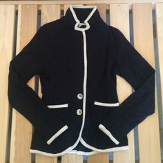 Moth sailor black/white blazer 29% wool. Perfect cond. Moth Jackets & Coats Blazers