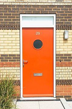 Orange Front Door Brick House Entrance 54 Ideas For 2019 Front Door Entryway, Wooden Front Doors, Modern Front Door, Exterior Front Doors, Front Door Design, Glass Front Door, House Entrance, Front Door Decor, Orange Front Doors