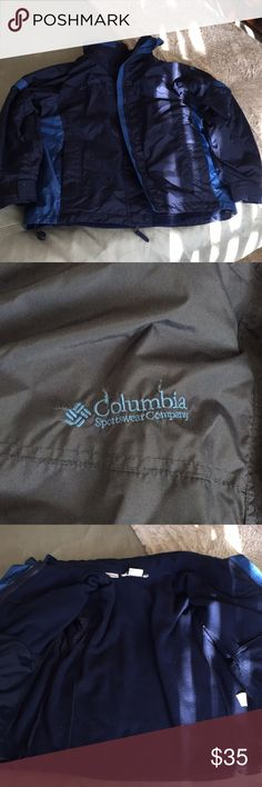 Columbia 3-in-1 jacket Great condition warm jacket in two tone blue. Arm vents and Velcro at wrists to tighten around gloves. Columbia Jackets & Coats