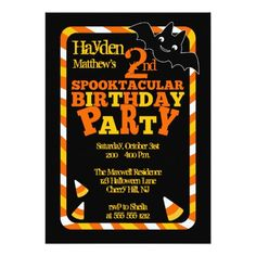 Halloween 2nd Spooktacular Birthday Party 5x7 Paper Invitation Card Invitations Fun