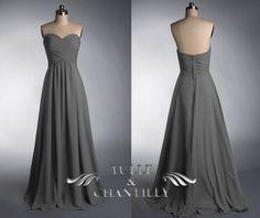 Grey strapless sweetheart long bridesmaid dress, dark grey empire waist bridesmaid gowns, charcoal gray bridesmaid dress TBQP237