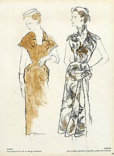 Blossac 1953 Fashion Illustration Dior Lecomte Griffe Givenchy ..4 Pages par Bernard Blossac   Hprints.com
