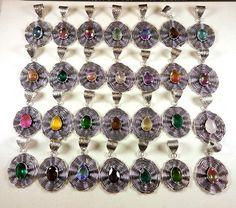 Christmas Sale ! 50 PCs Mix Gemstone & Quartz 925 Silver Plated Pendants Jewelry #Gajrajgems92_9 #Pendant