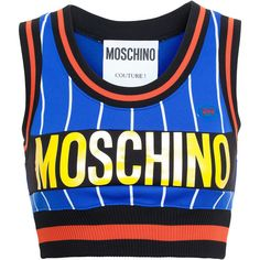 MOSCHINO Striped Crop Top ($415) ❤ liked on Polyvore featuring tops, shirts, crop top, sleeveless shirts, logo shirts, ribbed crop top, blue crop top and fitted shirts