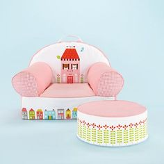 Kids' Personalized Seating: Kids Pink Little House Personalized Nod Chair in The Nod Chair