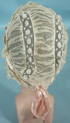 c. 1920's Lace and Ribbon Lingerie Cloche.